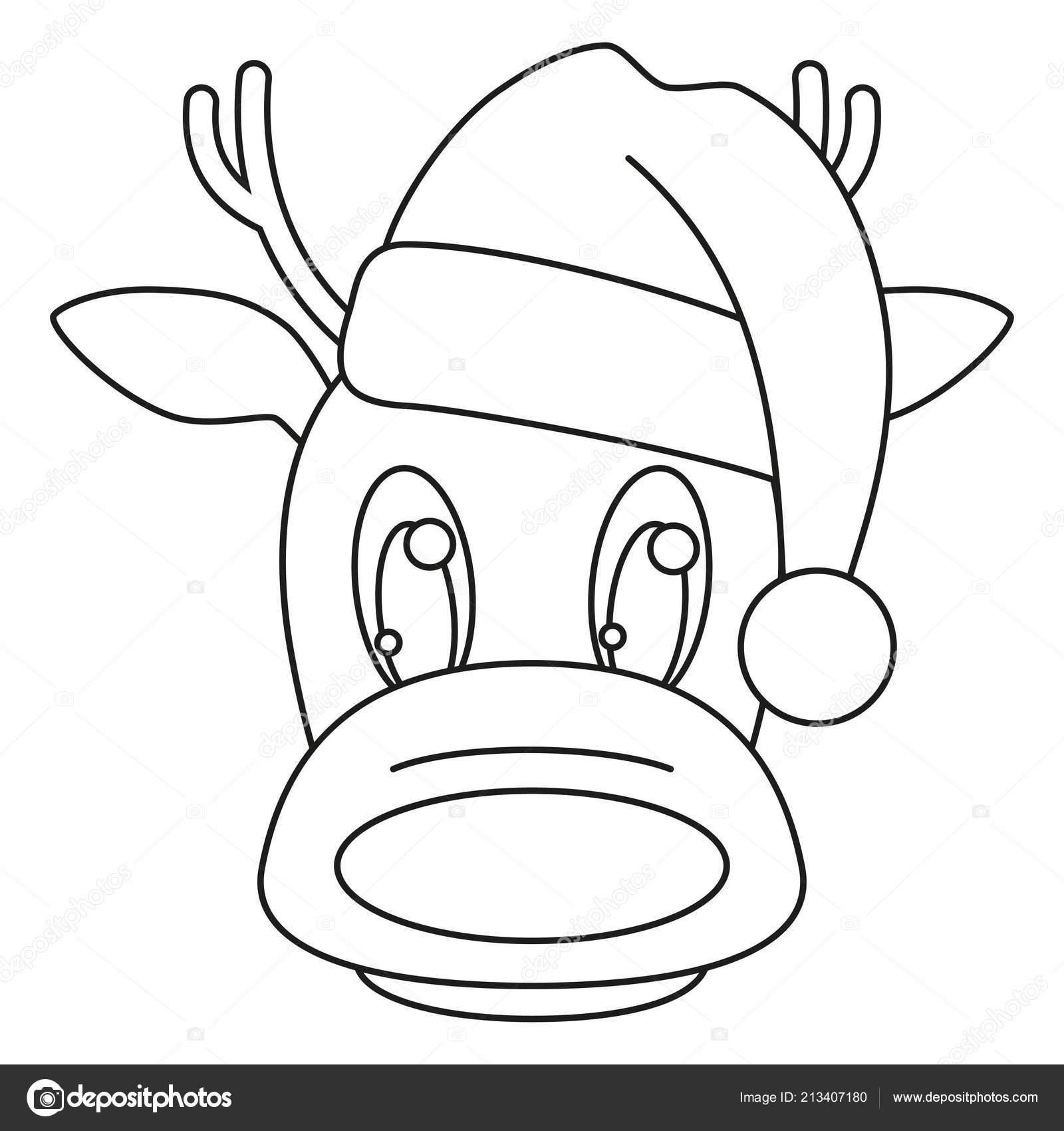 Línea arte de cabeza de Reno blanco y negro en el sombrero. Página de libro  para colorear para niños y adultos. Ilustración de vector con temas de  Navidad ... 4827c76d283