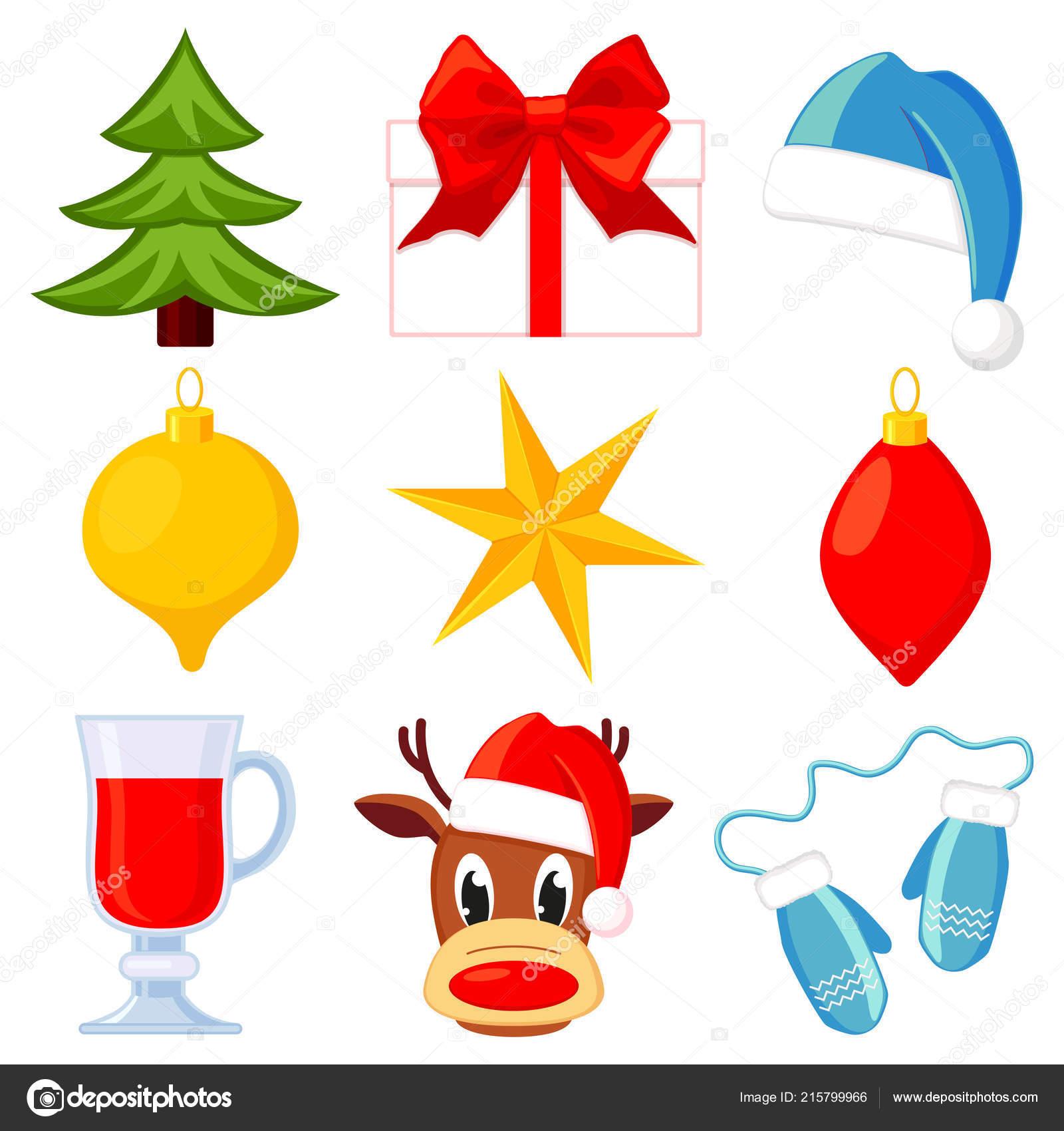 Conjunto De 9 Elementos De Natal Colorido Dos Desenhos