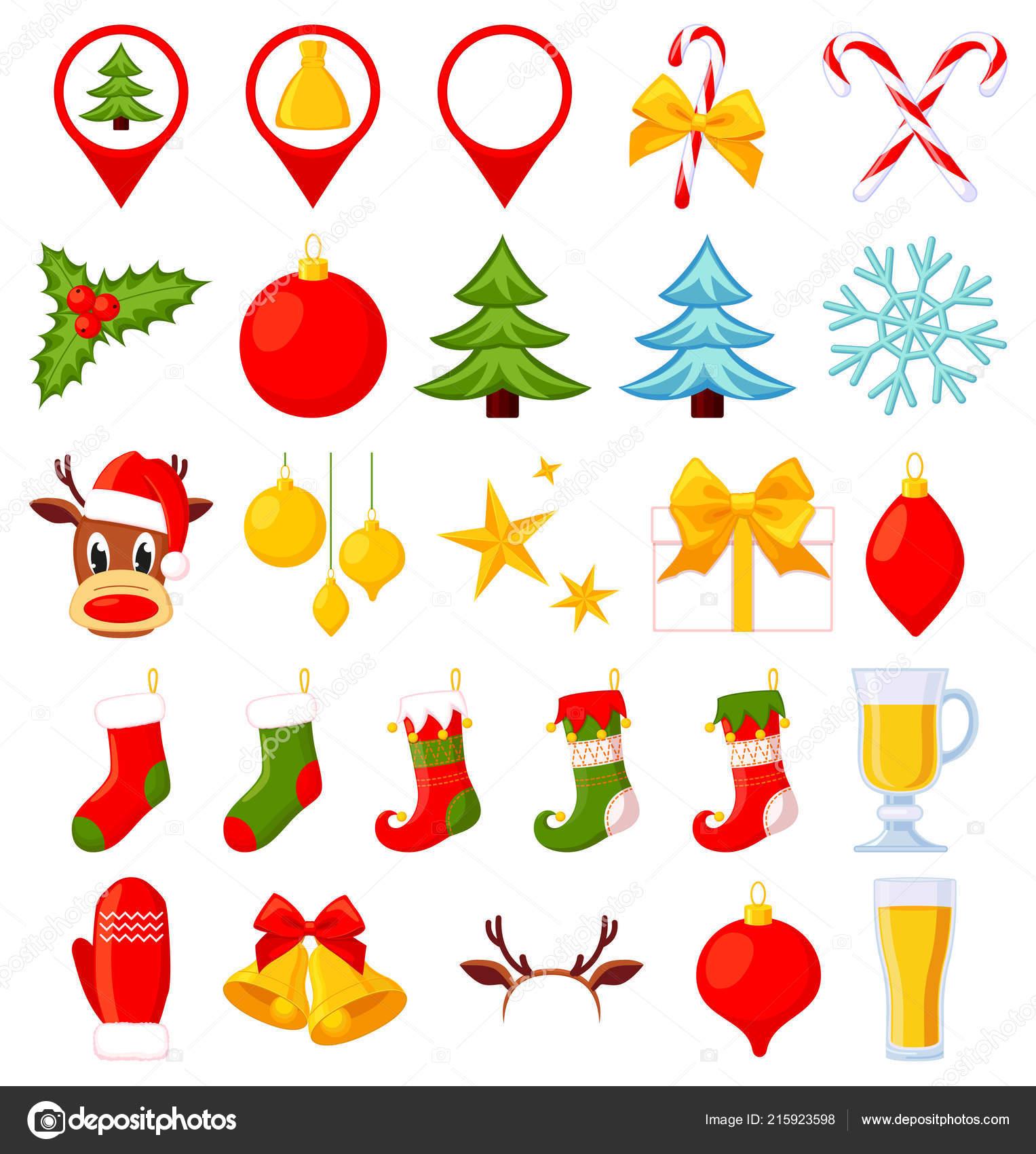 26 Elementos De Natal Colorido Dos Desenhos Animados