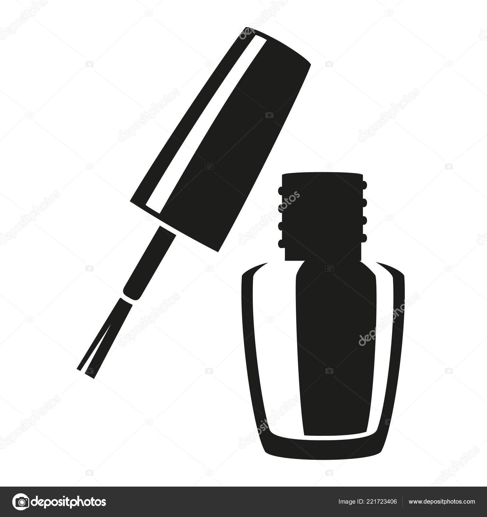 Blanco y negro abierto silueta de esmalte de uñas — Vector ...