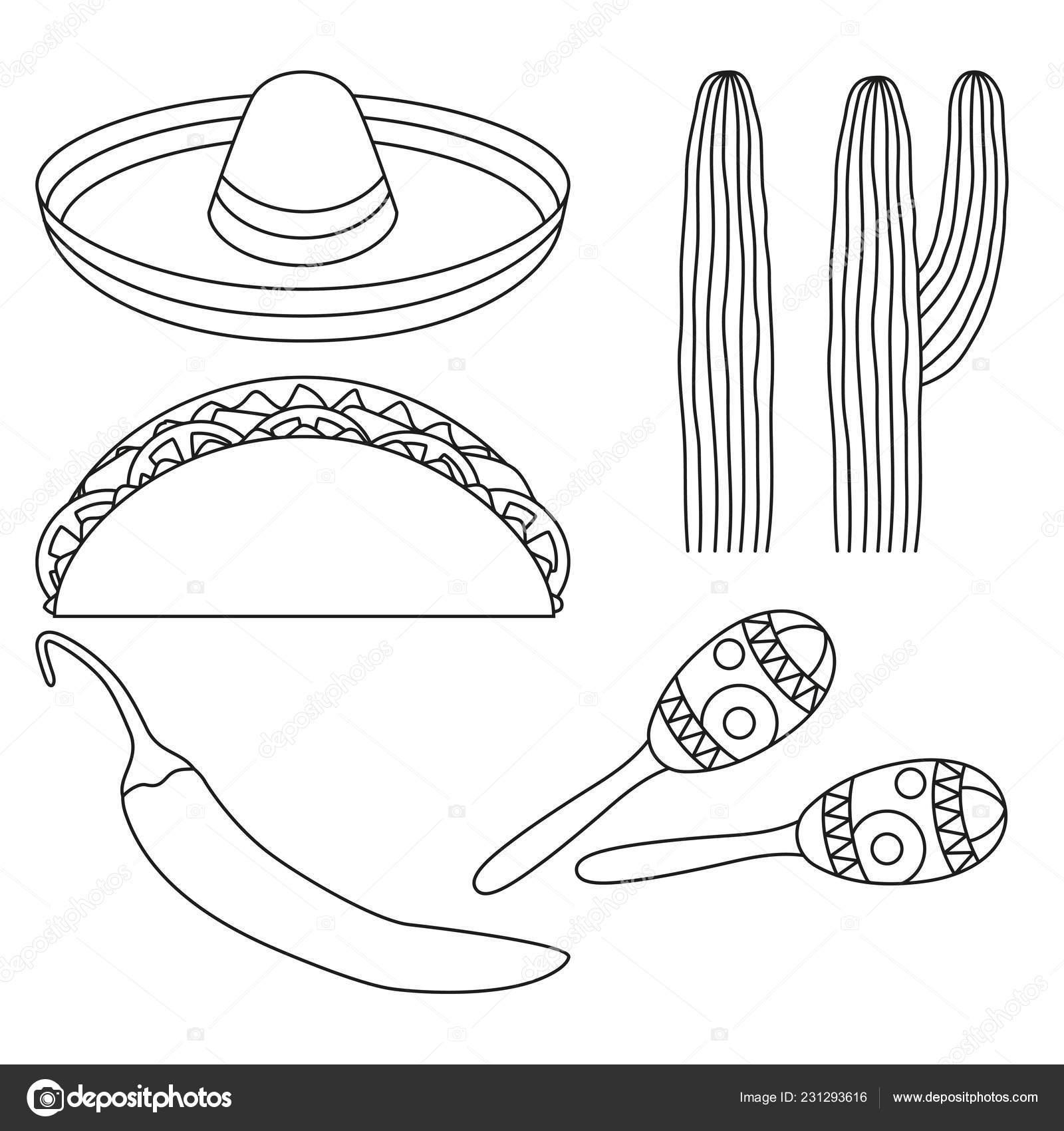 Arte blanco y negro 5 mexicano elementos de línea. Fiesta carnaval  conjunto. México tema vector ilustración para icono 6ee5a7417f7