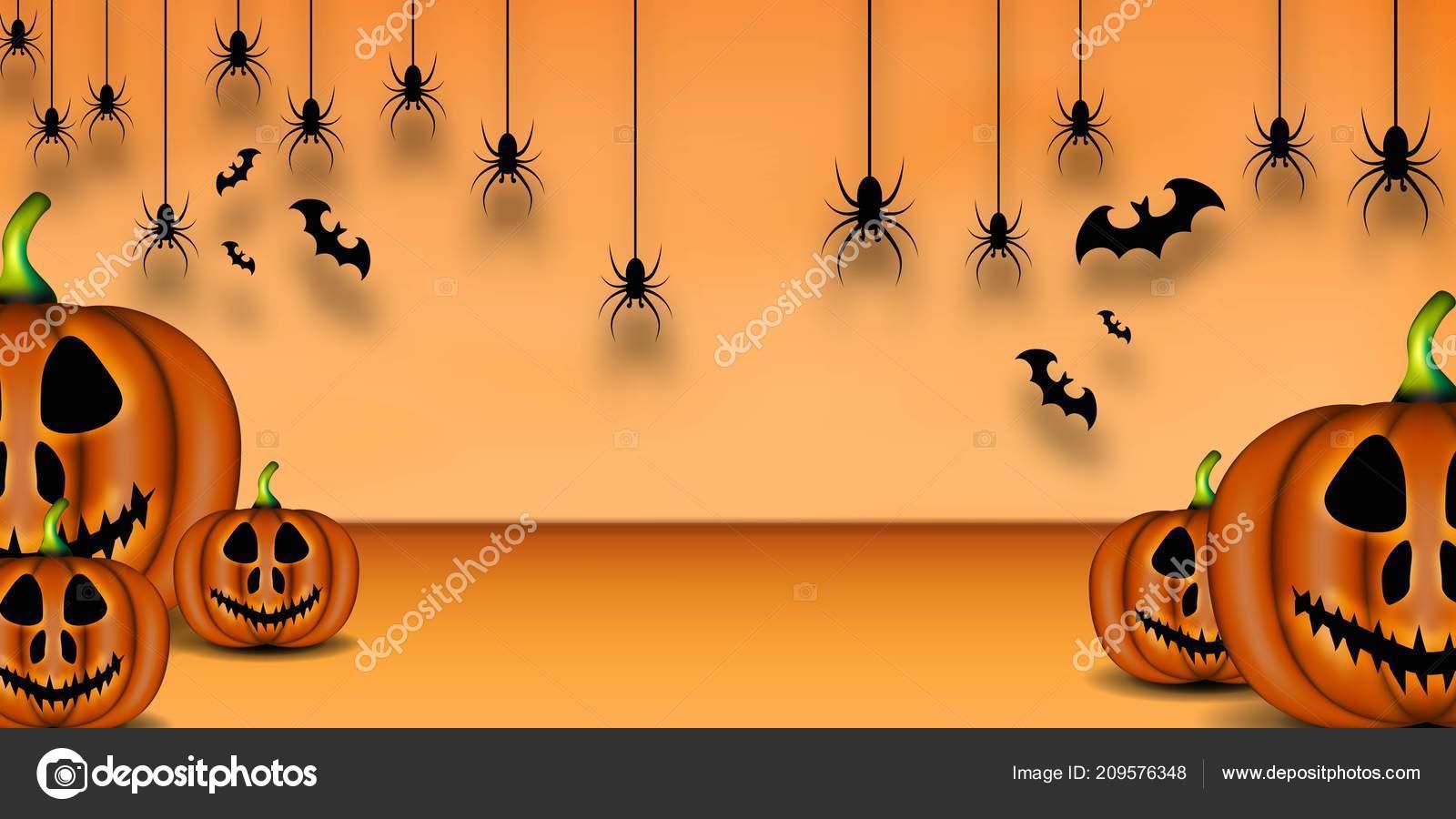 happy halloween background pumpkin bat spider background stock