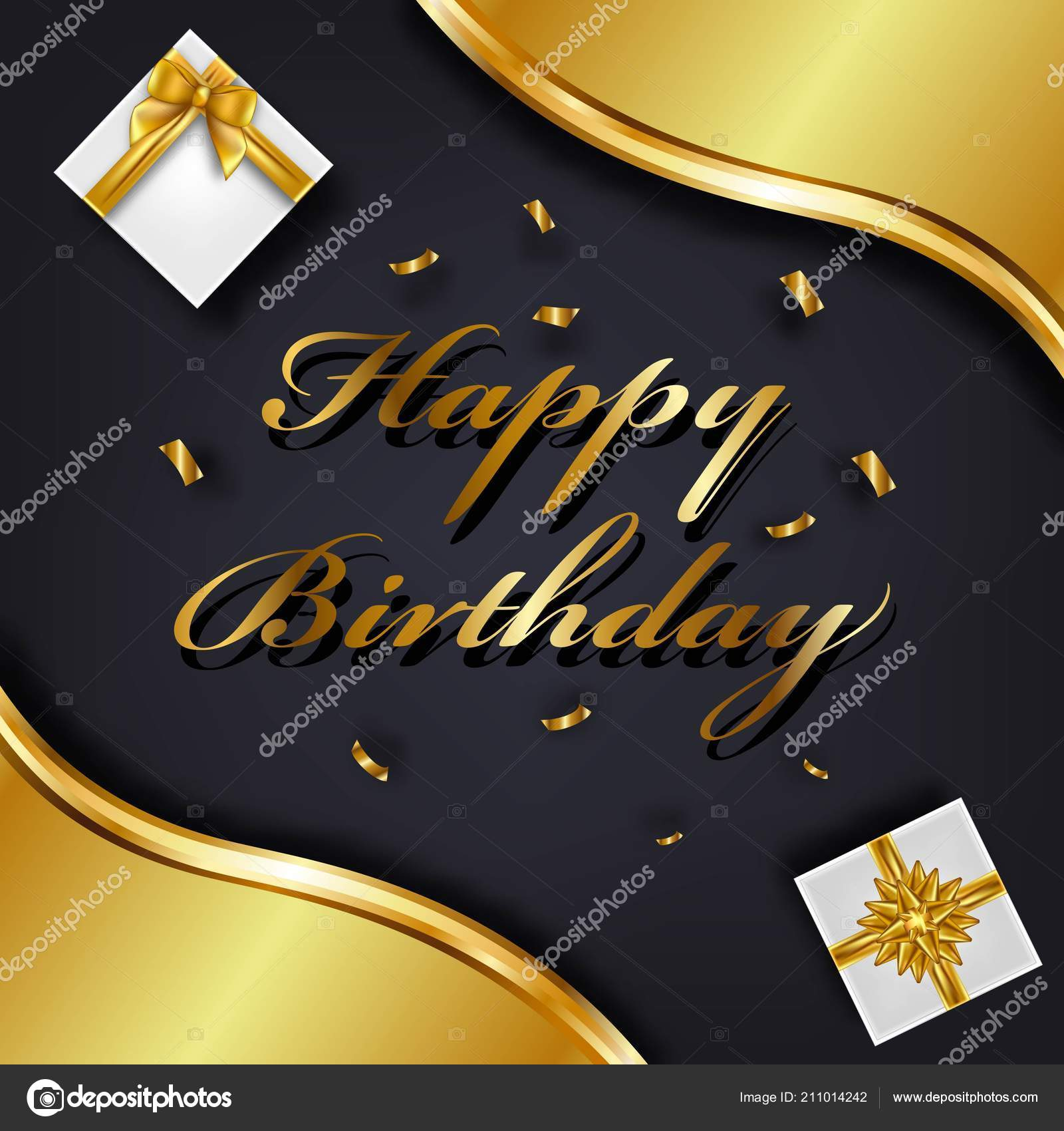 happy birthday greeting card template luxury gift box golden bow
