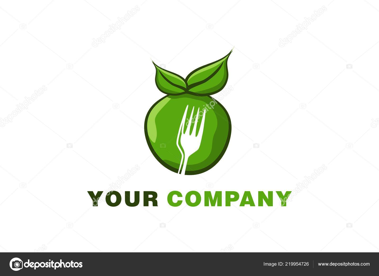 Green Apple Negative Space Fork Logo Designs Inspiration Isolated
