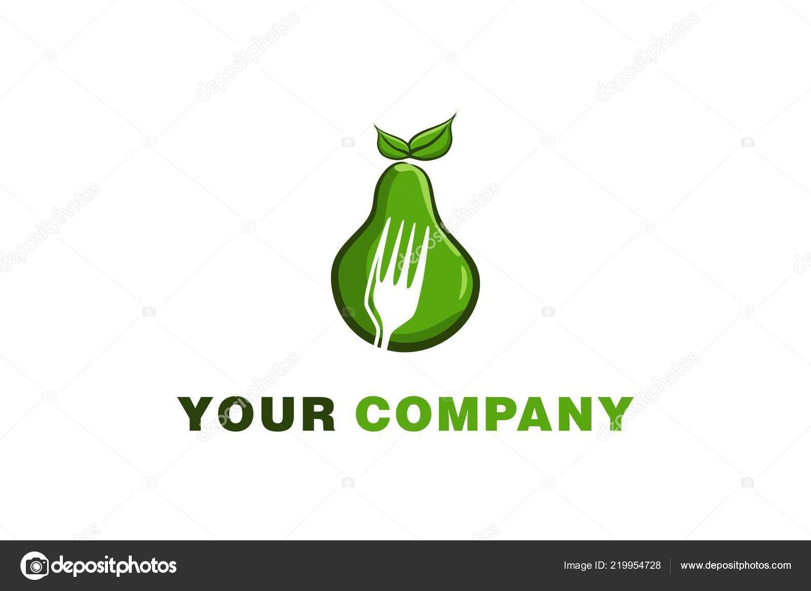 Green Avocado Negative Space Fork Logo Designs Inspiration