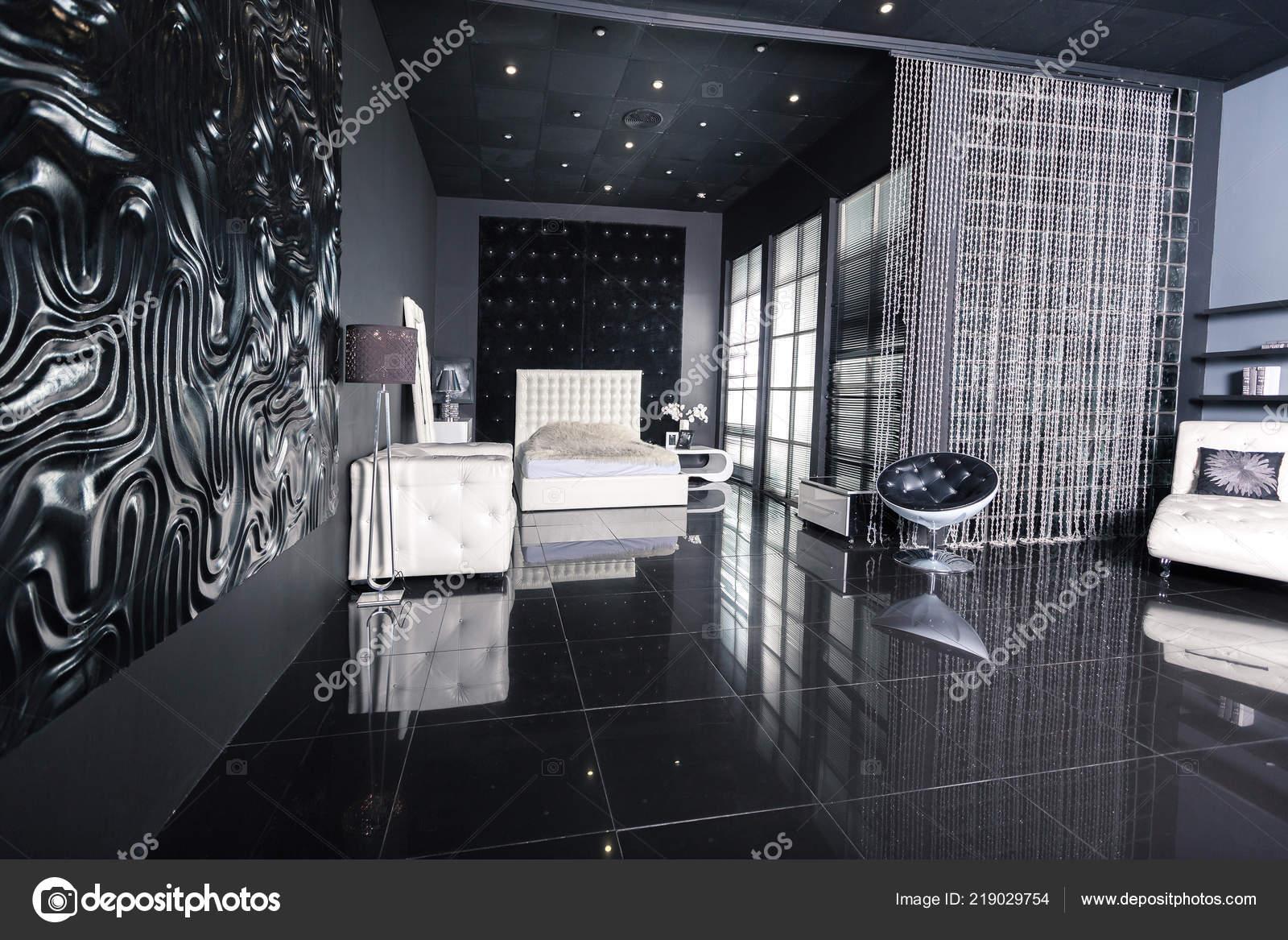 Stylish Luxury Bedroom Interior Design Dark Walls Modern Light Furniture Stock Photo C Nokia Alexnet 219029754