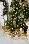 stylish vintage interior with decorated elegant Christmas tree