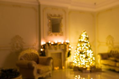 stylish vintage interior with decorated elegant Christmas tree lighting