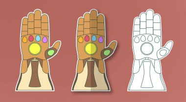 Glove of Thanos with 6 gems. Vector illustration in sticker pape