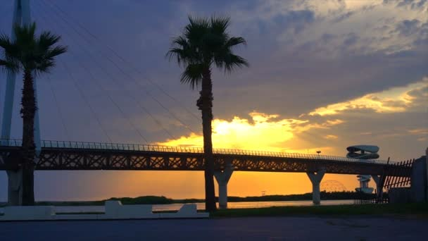 Brücke vor wunderschönem Sonnenuntergangshimmel mit Palmen als natürlicher Hintergrund, Kulisse und vielseitige Seeszene