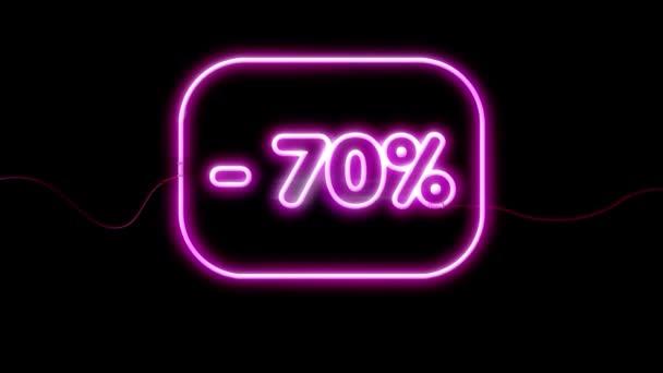 Nagy eladó akár 70% jel, neon animáció fekete háttér.