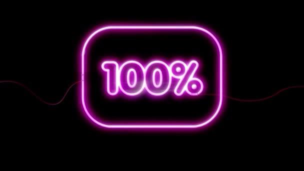 Neon jel egy fekete háttérrel. 100% -ban