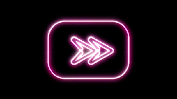 Neon sign Arrows Animation of signal  a black background.