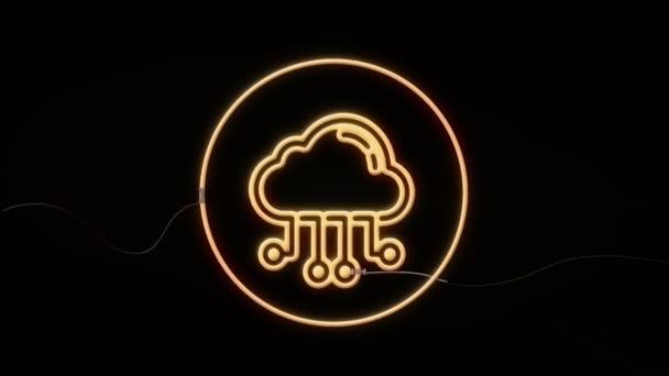 Koncept cloud computingu. Obchodní, technologické, internetové a síťové koncepce. Neonový znak
