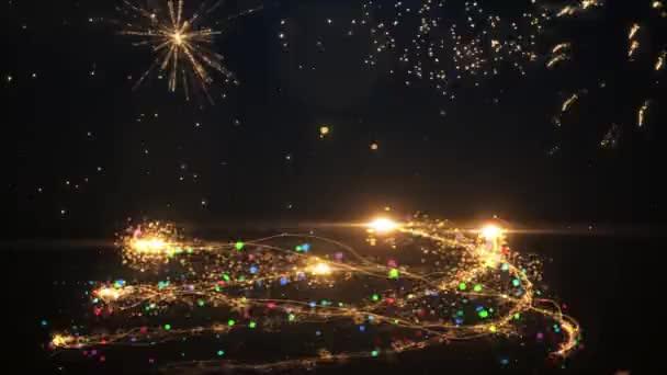 2021 Šťastný nový rok Světlé animace čísla nového roku zářící.