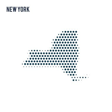 Dotted New York map isolated on white background. Vector abstract map of the state.