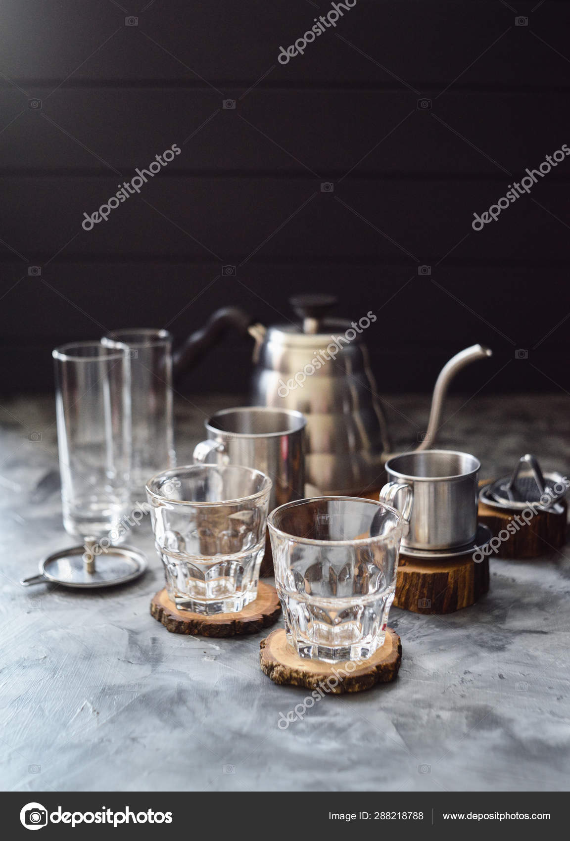 Making Vietnamese Drip Coffee In Glasses With Coffee Maker Phin Stock Photo C Kingkonglive 288218788