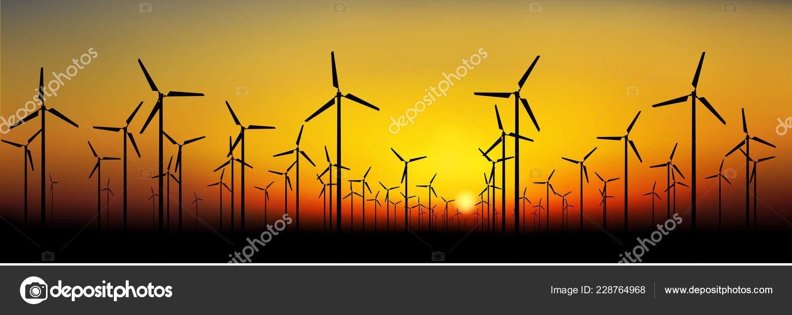 Silhouettes Wind Turbines Sunset Sky Stock Vector Black Mts Power Turbine Diagram