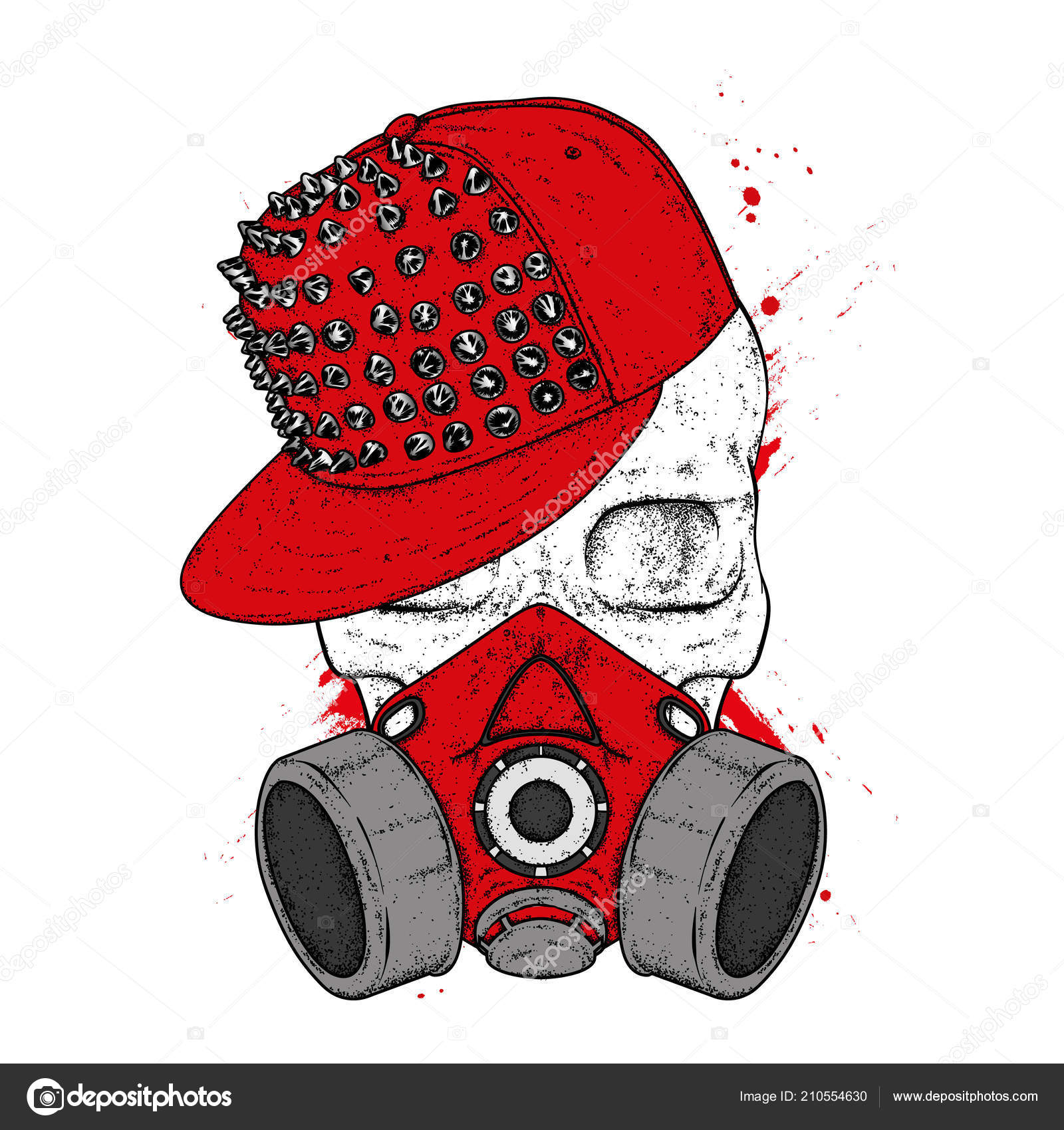 A stylish skull with a cap and respirator for graphics. A print on clothes  or an illustration for a postcard and a poster. Vector drawing. Mask. fd4c1b618d2