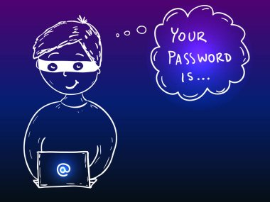 Young hacker boy with laptop stealing password - security doodle