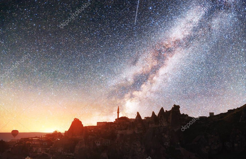 Review unique geological formations in Cappadocia, Picturesque starry sky in Goreme National Park. Courtesy of NASA.