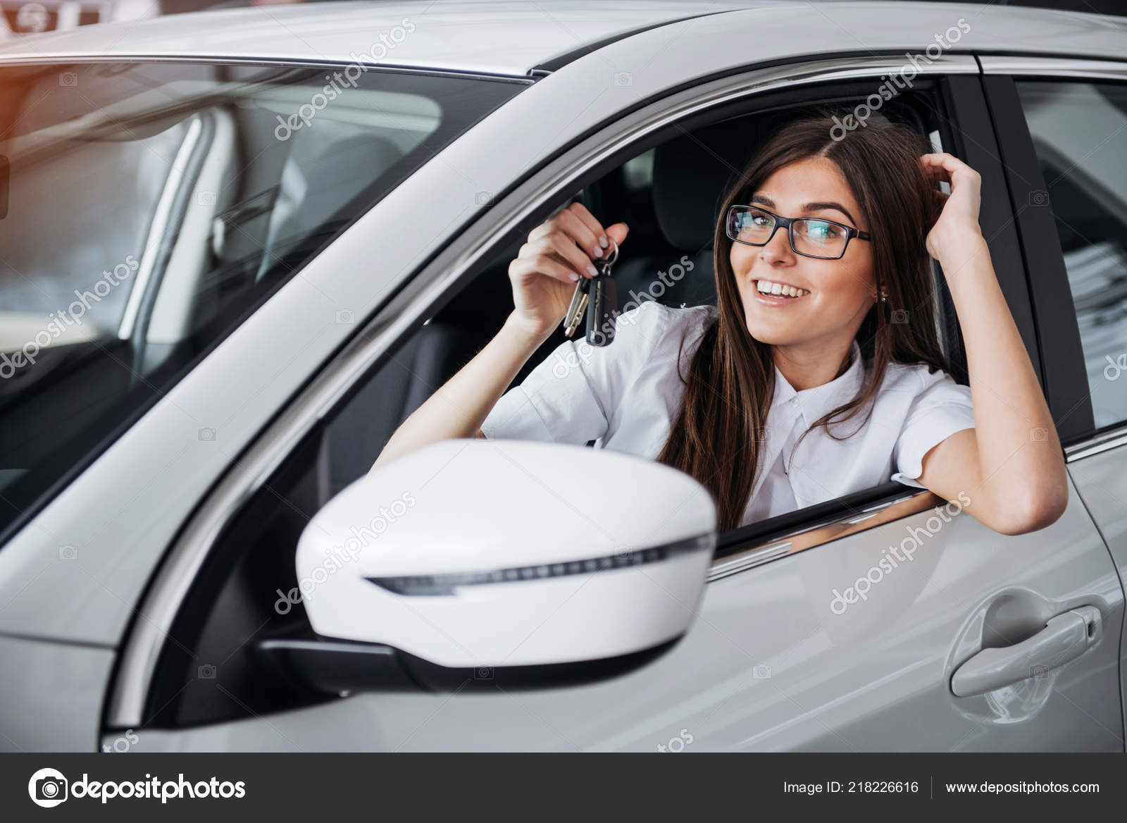 Young Happy Woman Car Keys Hand Concept Buying Car Stock Photo