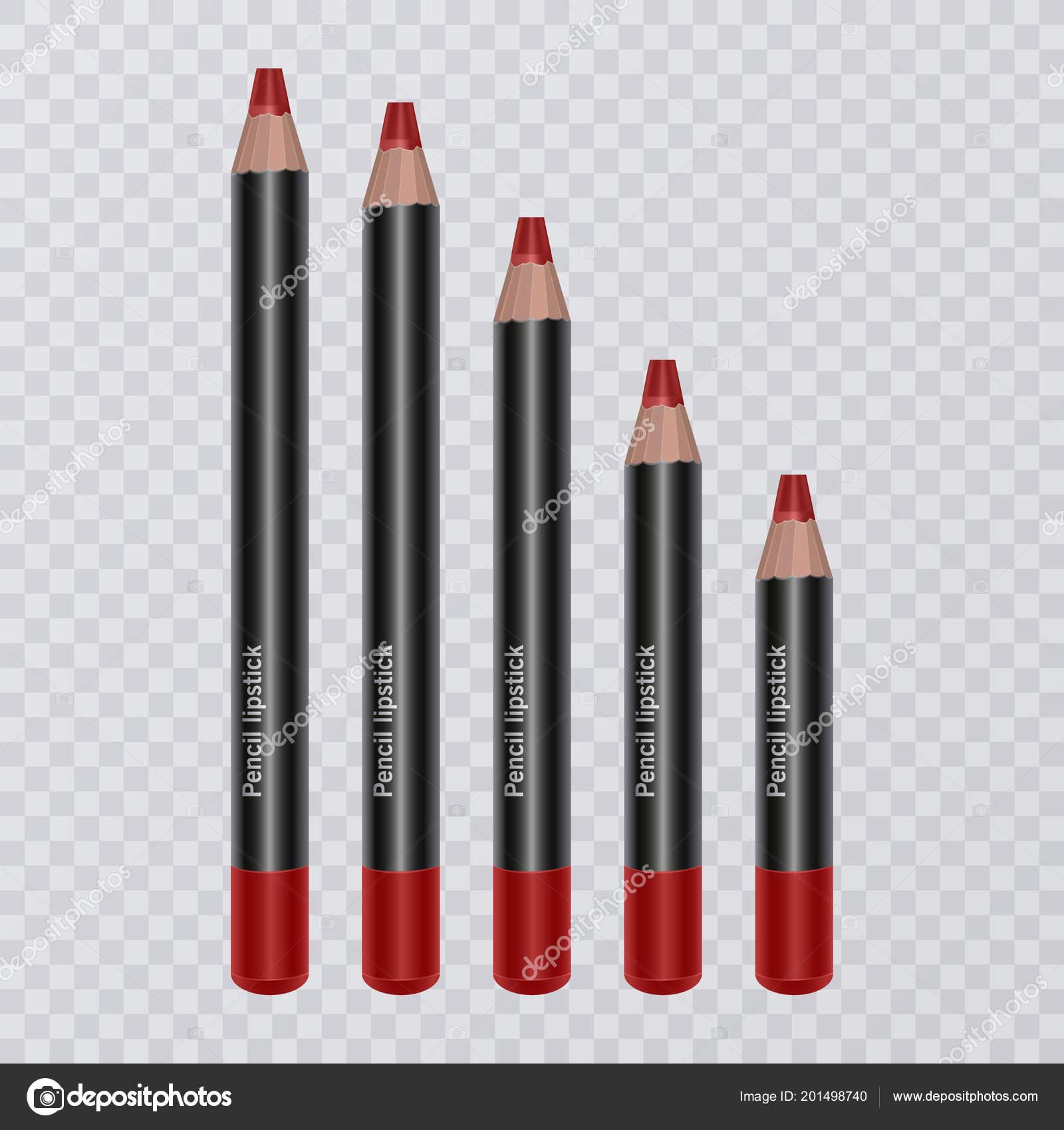Set Di Matite Labbra Realistico Su Sfondo Trasparente Lip Liner Di