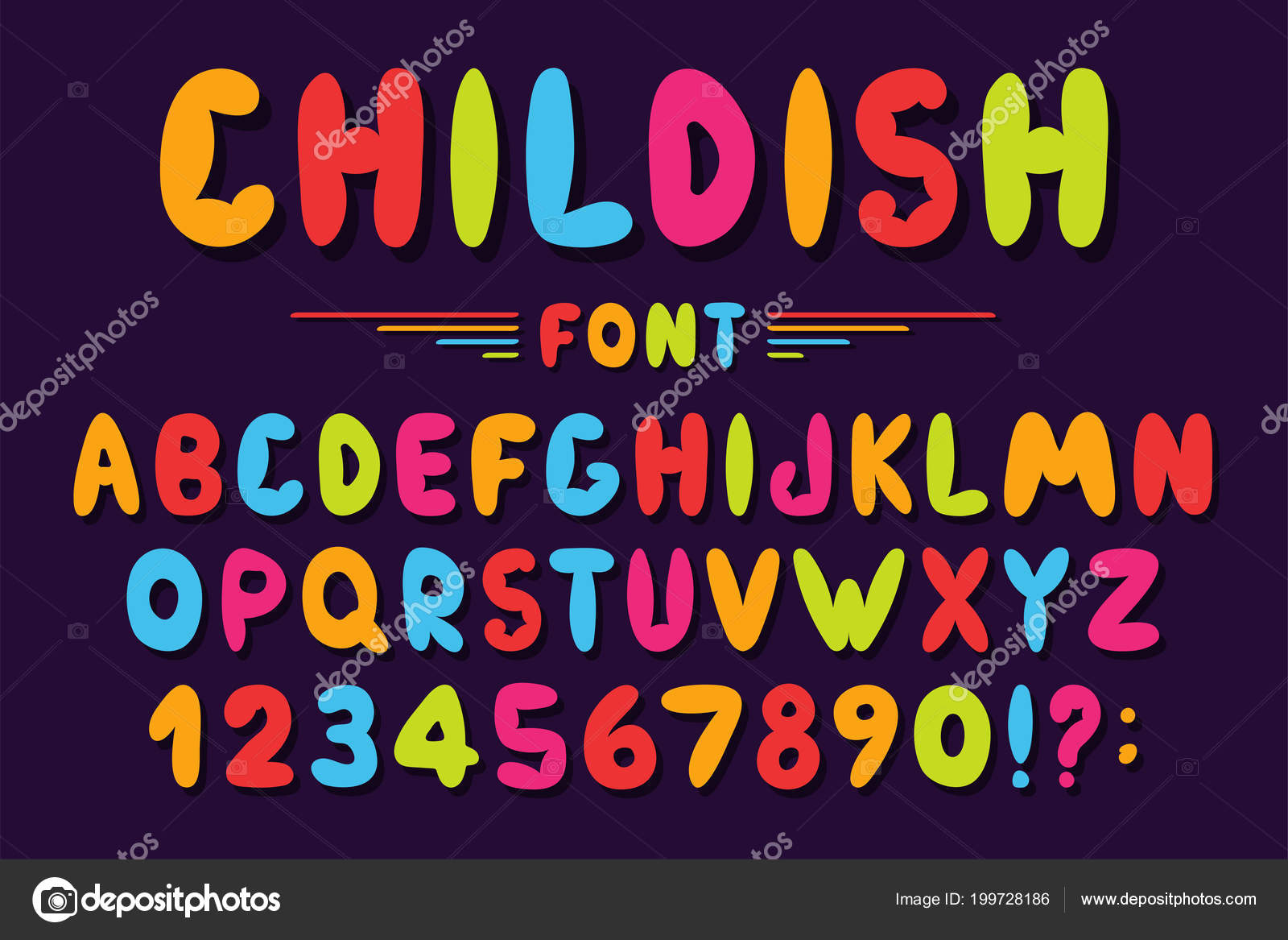 children font cartoon style colorful bubble alphabet numbers toys games stock vector