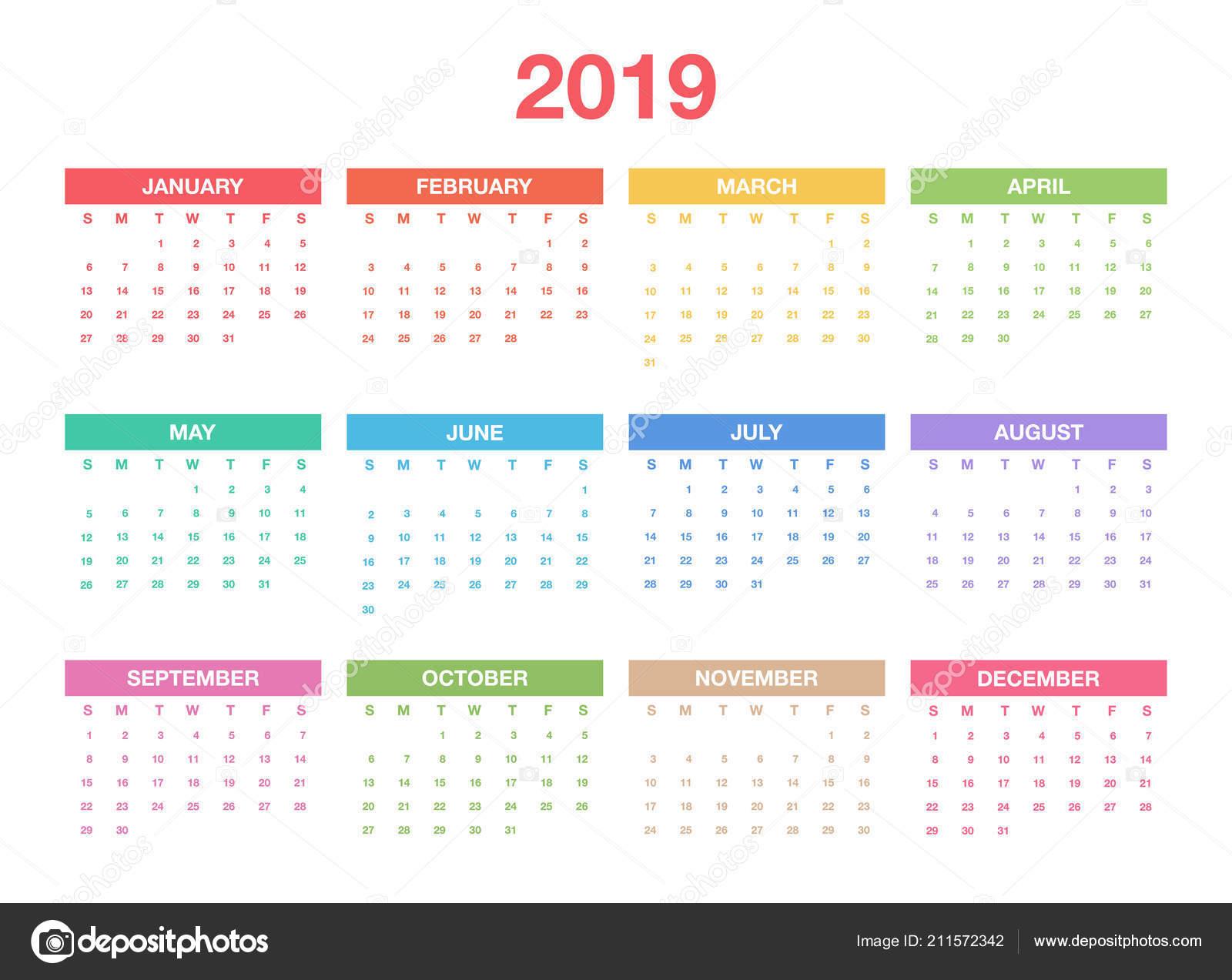 Modelli Calendario 2019.Modello Calendario 2019 Design Colorato Calendario Planner