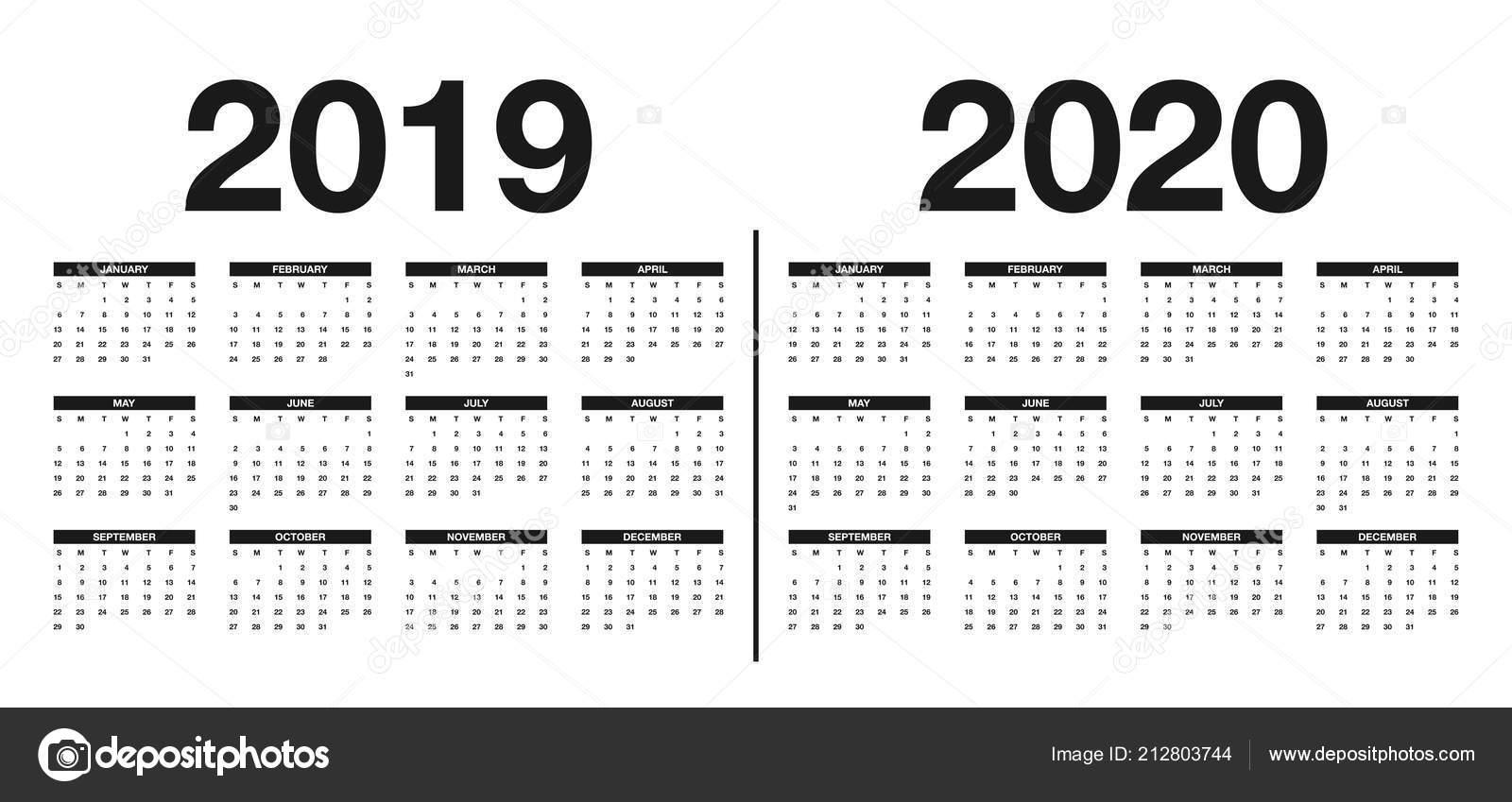 kalender 2019 2020 sjabloon kalender ontwerp zwarte witte kleuren vector stockvector. Black Bedroom Furniture Sets. Home Design Ideas