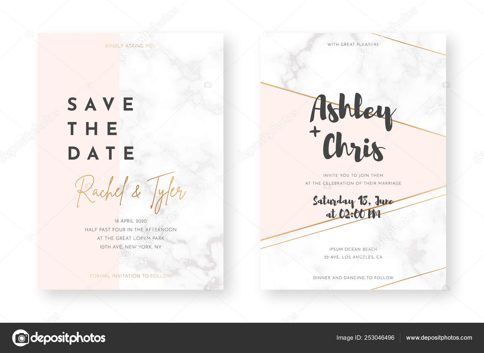 Wedding Card Design With Golden Frames And Marble Texture