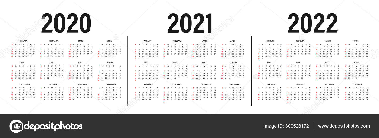 Calendar 2020, 2021 and 2022 template. Calendar mockup design in