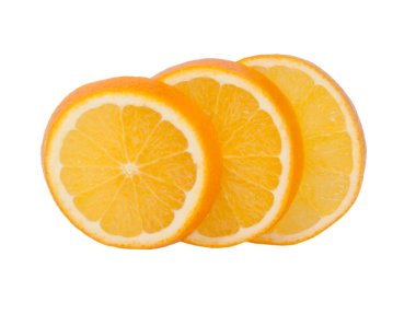 Fresh organic orange fruit slice isolated on the white. Tropical exotic food.