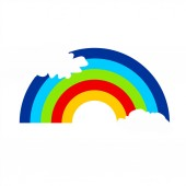 Rainbow in the clouds.  Weather icon.