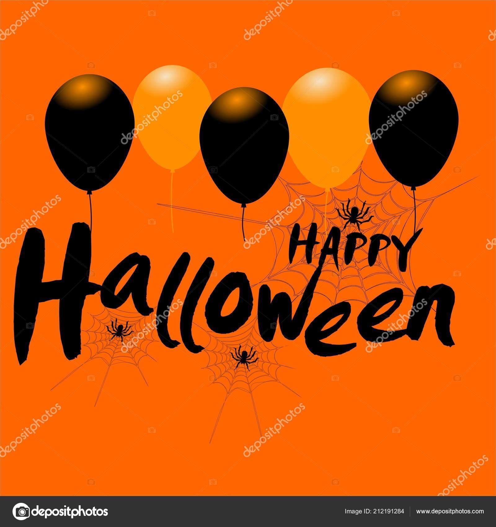 happy halloween message design background balloons spiders — stock