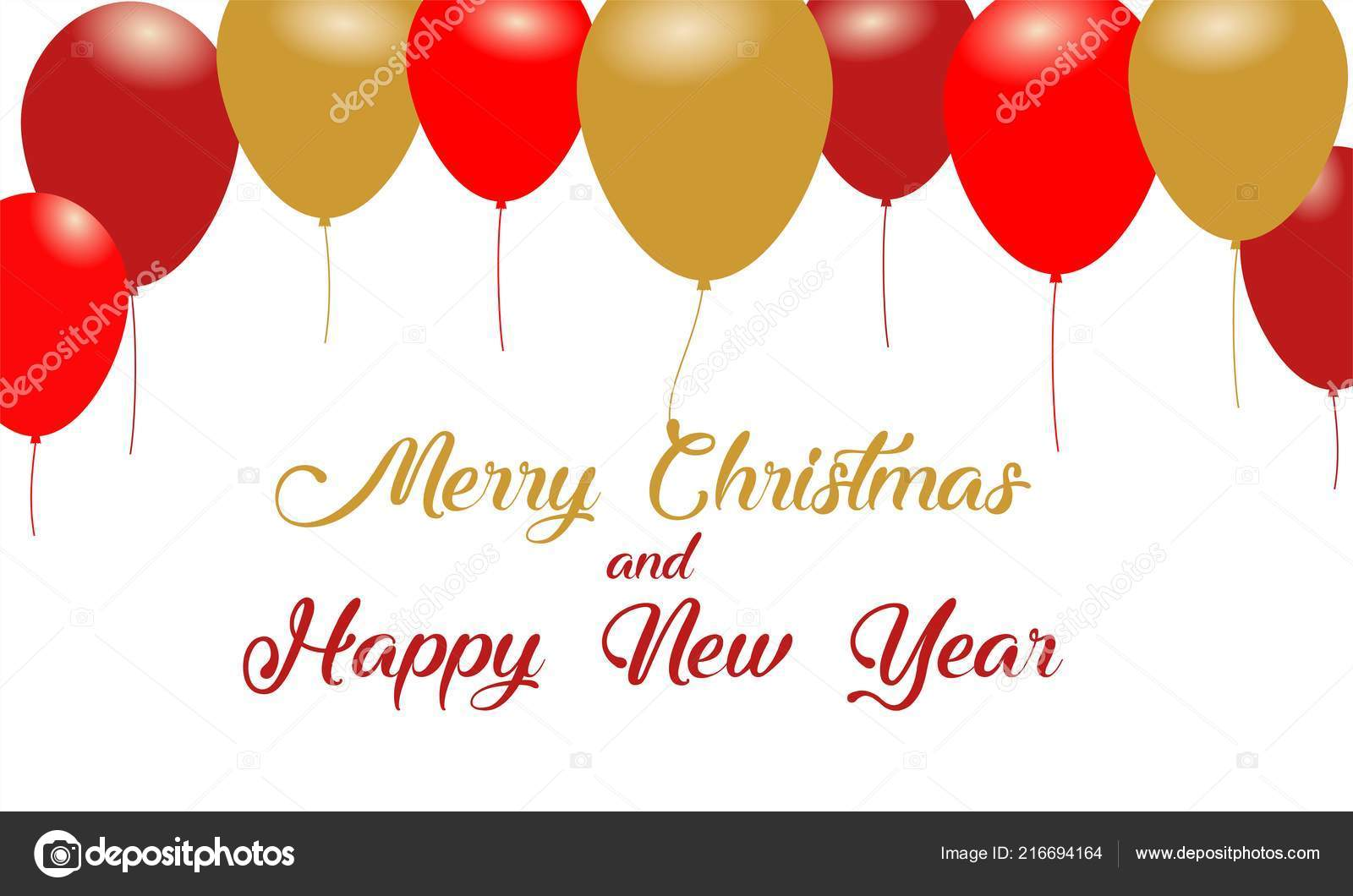 merry christmas happy new year message design background balloons stock vector