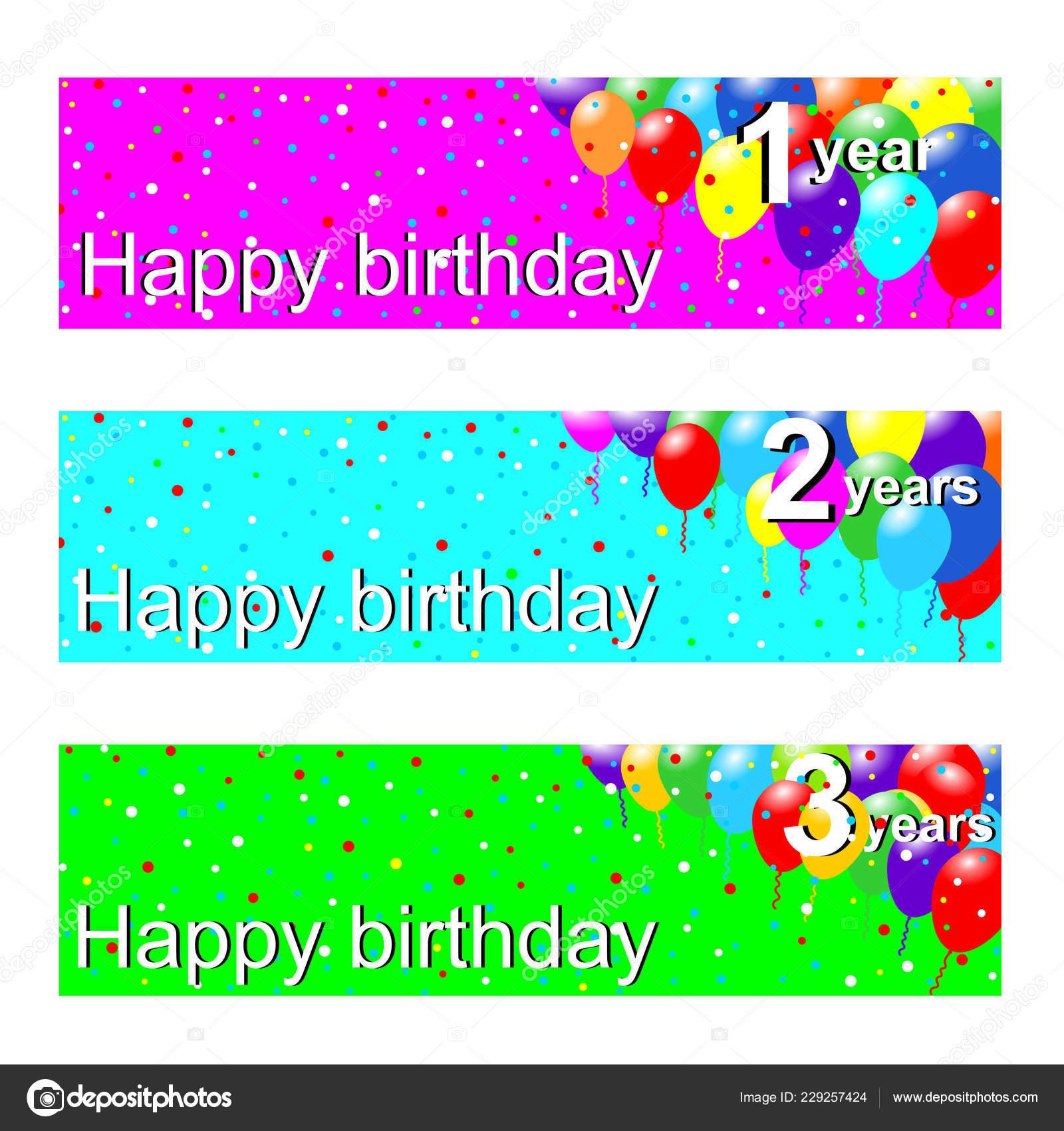 Set Three Banners Anniversary Years Vector Graphic
