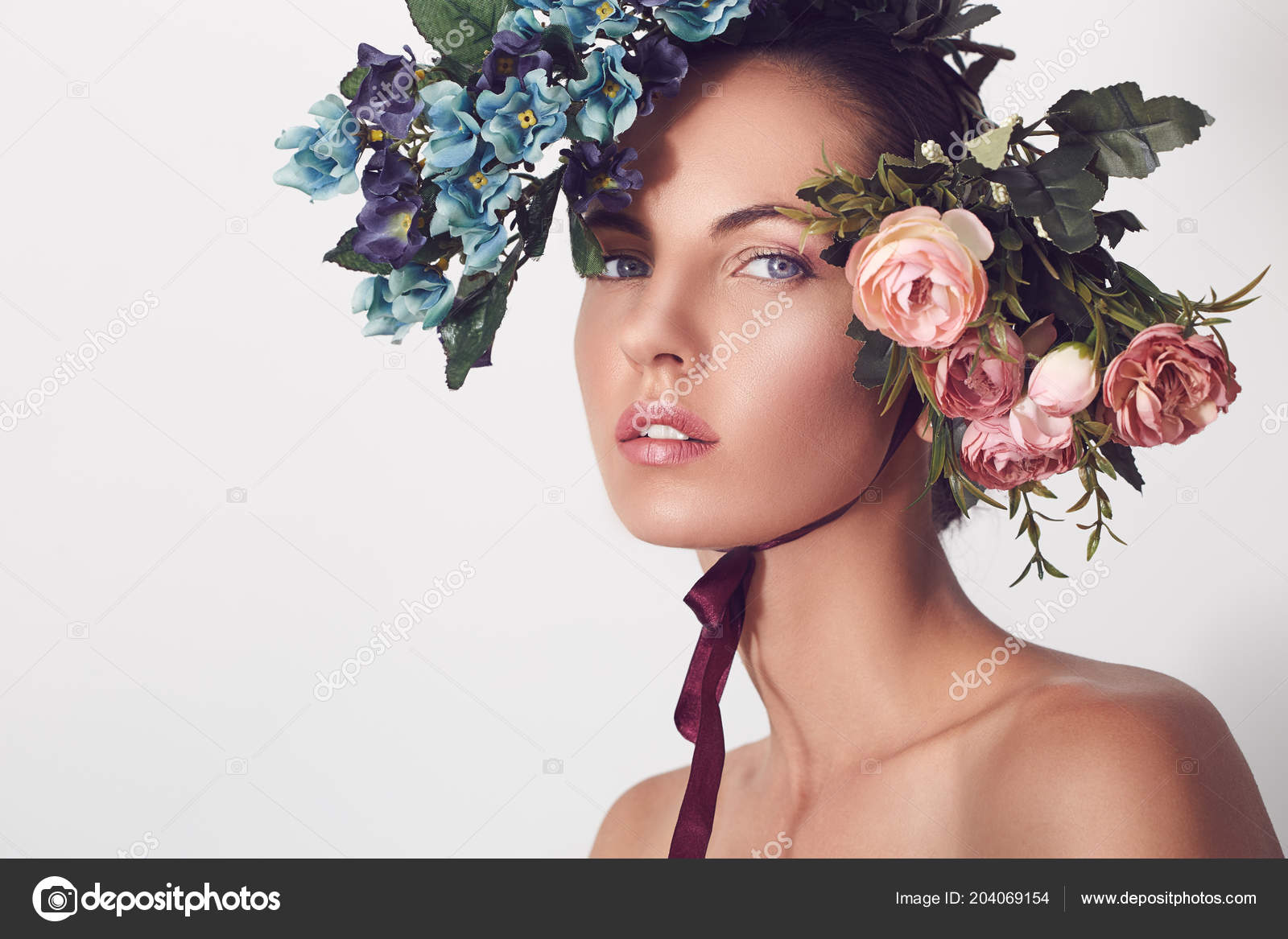 Beautiful Woman With Flower Head Portrait Young Beautiful