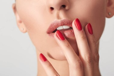 Sexy Lips and Nails closeup. Open Mouth. Manicure and Makeup. Make up concept.