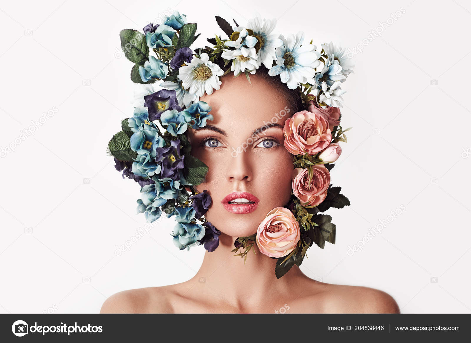Portrait Young Beautiful Woman Flowers Her Head Spring