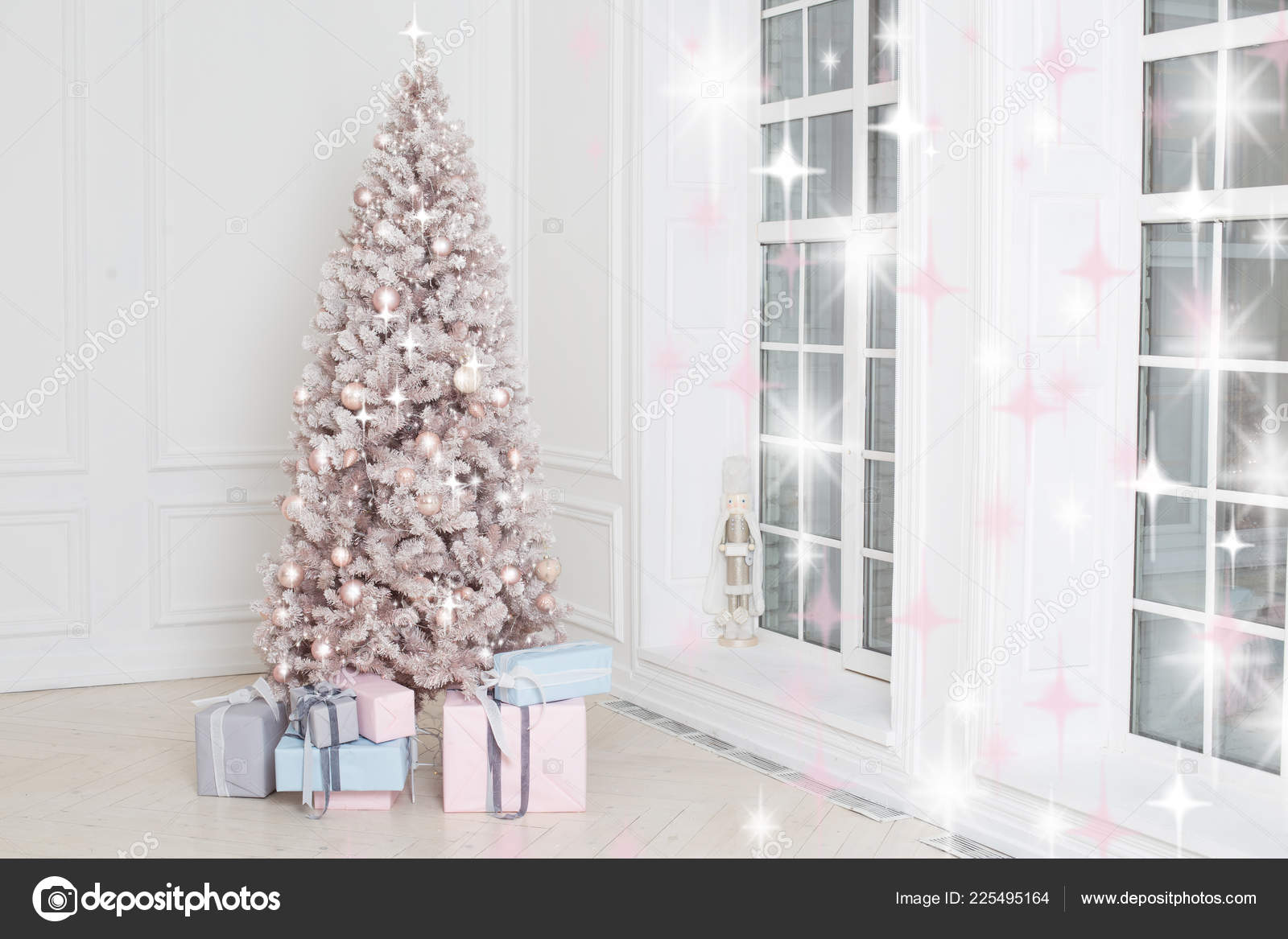 Beautiful Holiday Decorated Christmas Tree Presents White Silver Christmas Tree Stock Photo Image By C Ovcharenkoviktoria 225495164