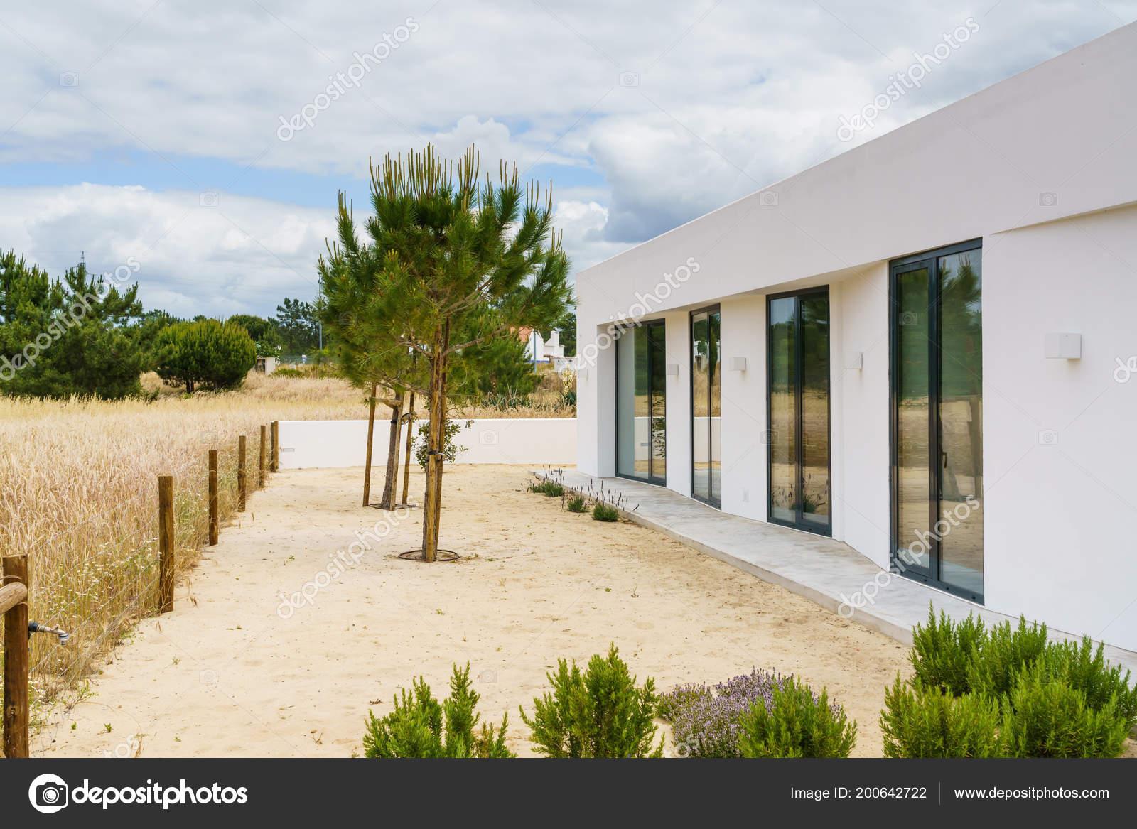 Maison Moderne Avec Jardin Piscine Terrasse Bois Photographie