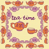 Seamless pattern of abstract teapot and cups