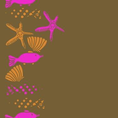 Seamless pattern of fish, shells and starfish, vector illustration