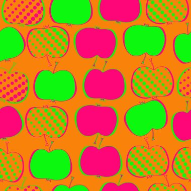 Seamless pattern with colored apples