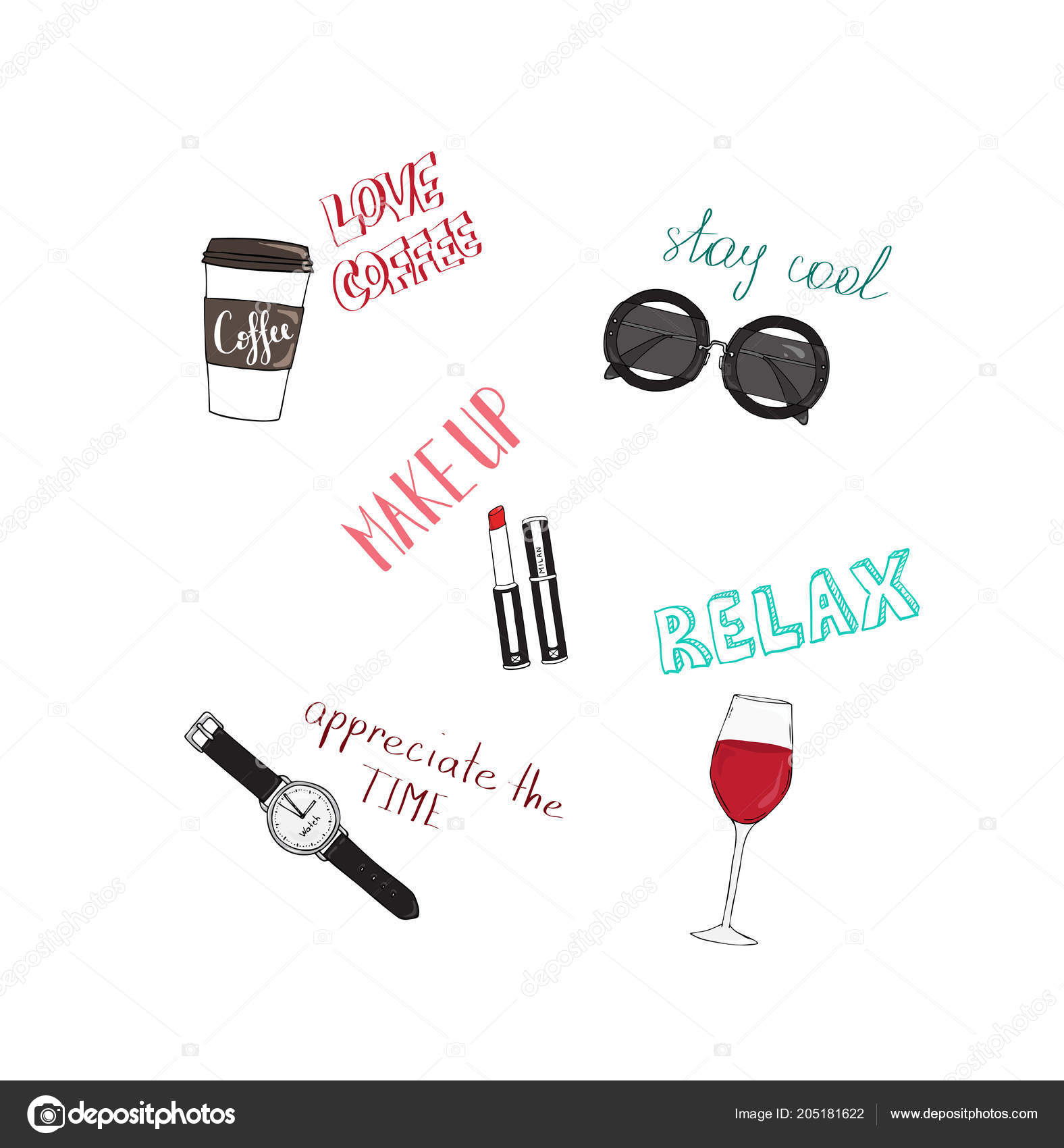 Vector design for women tshirt with slogans and icons. Motivational quotes Love coffee, Stay cool, Value time, Relax, Makeup. Hand drawn illustration.