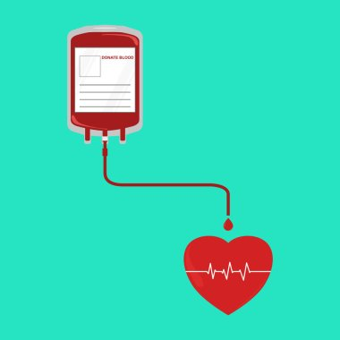 Flat design Donate blood bag with tube and drop to heart icon with heart beat line monitor on green background for blood donation and healthcare concept. Use for Graphic, Vector illustrations, ad, artwork, template icon