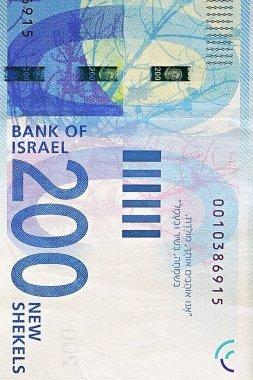 New Israeli money bills (banknotes) of 200 shekel. New Israeli Shekel series C.