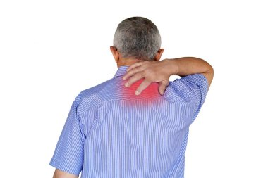 Pain in the neck of male from fatigue