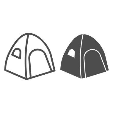 Tent line and solid icon, Summer vacation concept, Tourist tent sign on white background, camping tent icon in outline style for mobile concept and web design. Vector graphics.